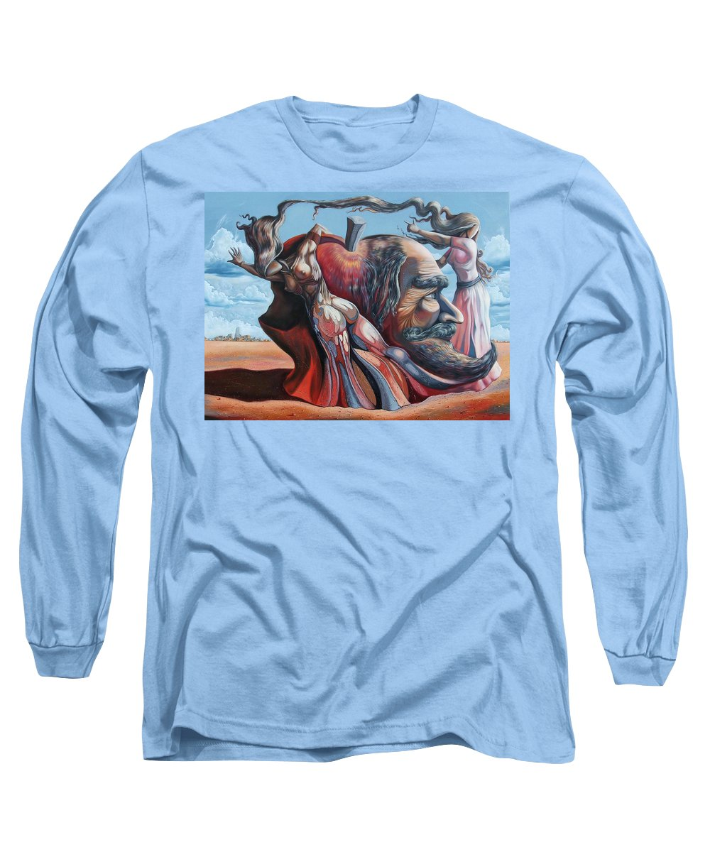 Surrealism Long Sleeve T-Shirt featuring the painting The Adam-eve Delusion by Darwin Leon