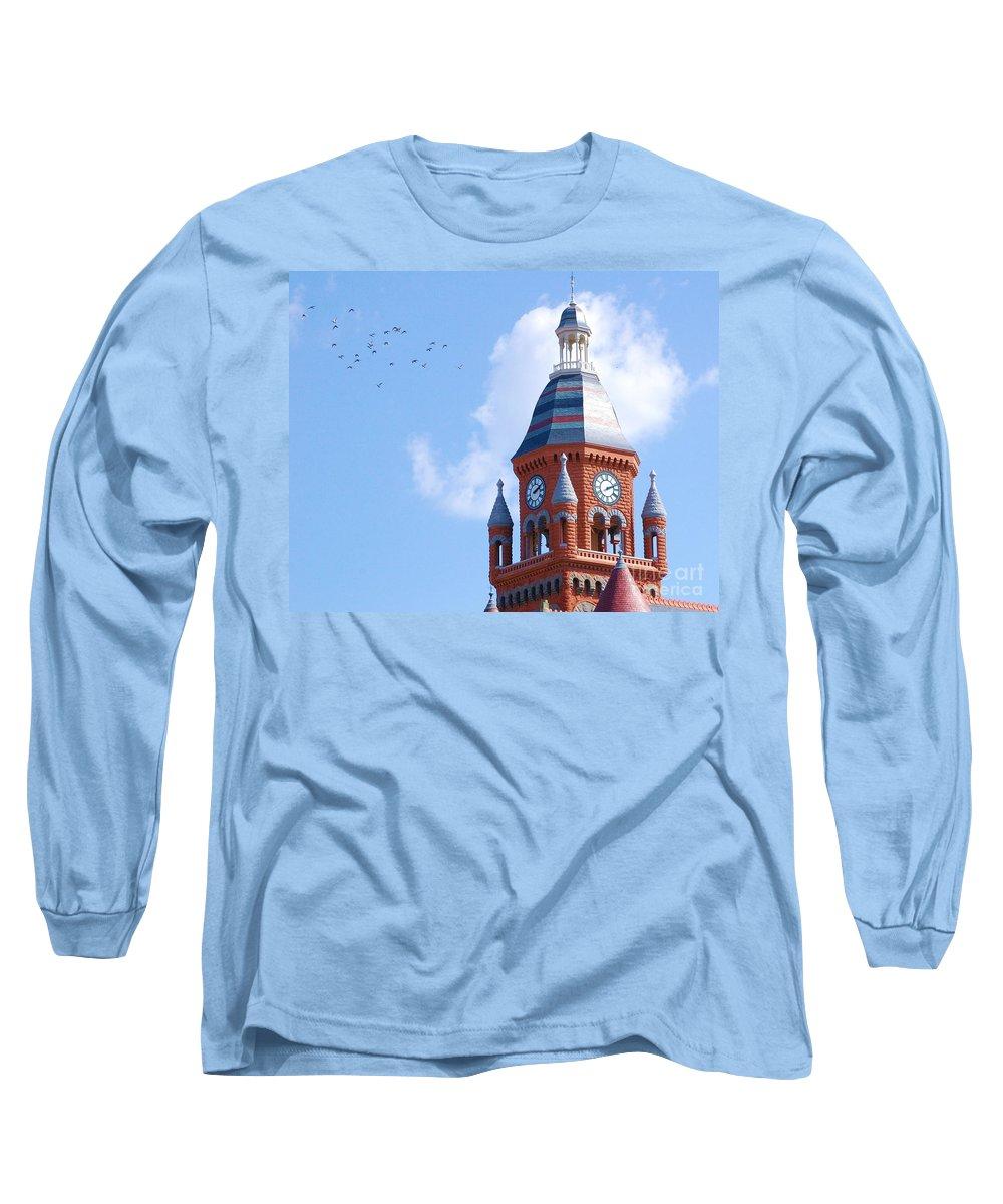 Clock Long Sleeve T-Shirt featuring the photograph The Birds by Debbi Granruth