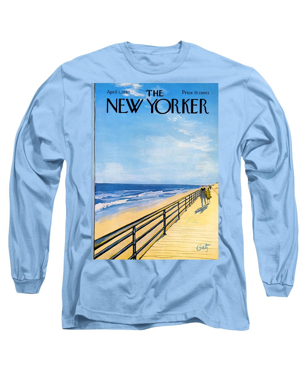 Arthur Long Sleeve T-Shirt featuring the painting The New Yorker Cover - April 1st, 1967 by Arthur Getz