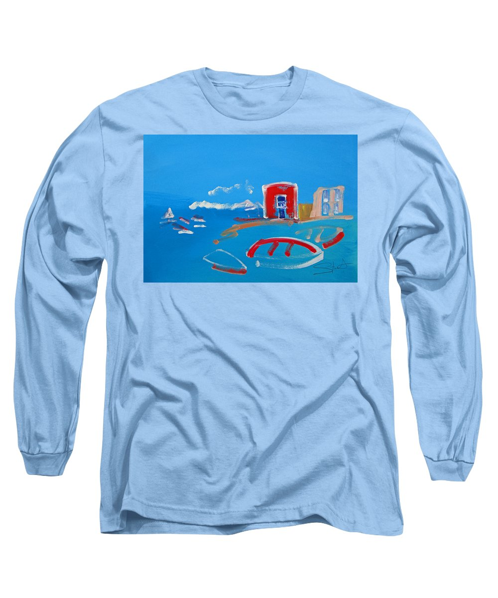 Puerto Long Sleeve T-Shirt featuring the painting The Red House La Casa Roja by Charles Stuart