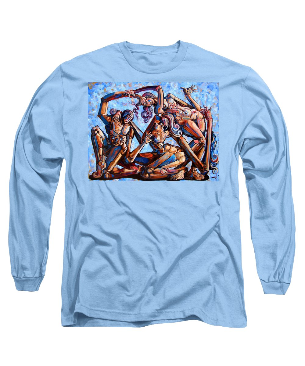 Surrealism Long Sleeve T-Shirt featuring the painting The Seduction Of The Muses by Darwin Leon