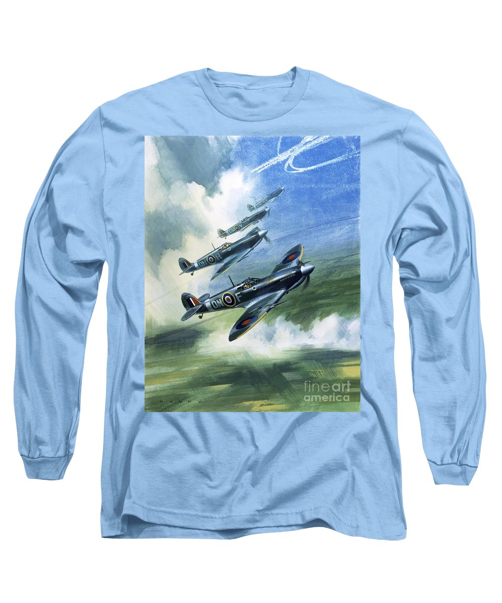 The Long Sleeve T-Shirt featuring the painting The Supermarine Spitfire Mark Ix by Wilfred Hardy