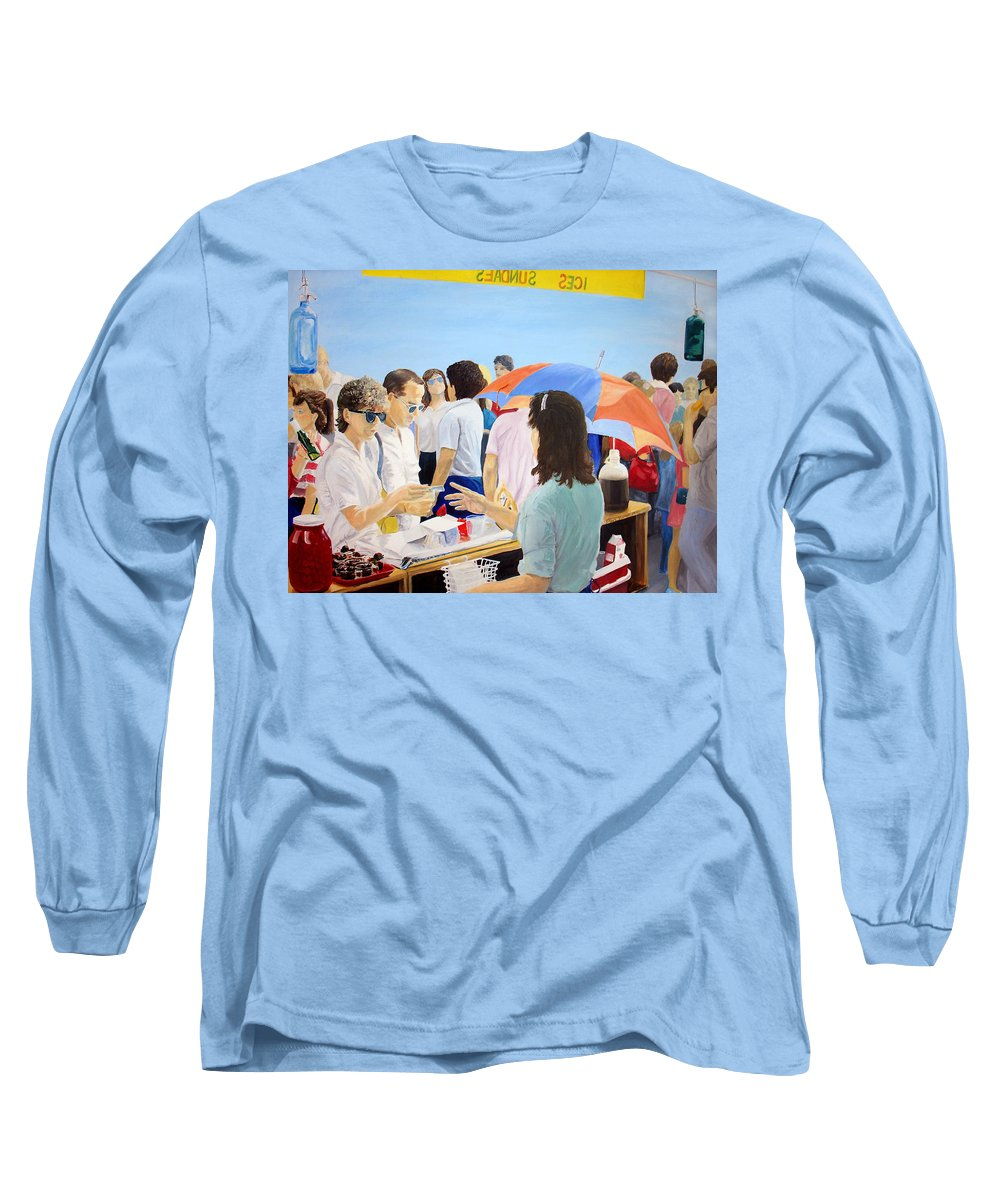 People Long Sleeve T-Shirt featuring the painting The Vendor by Steve Karol