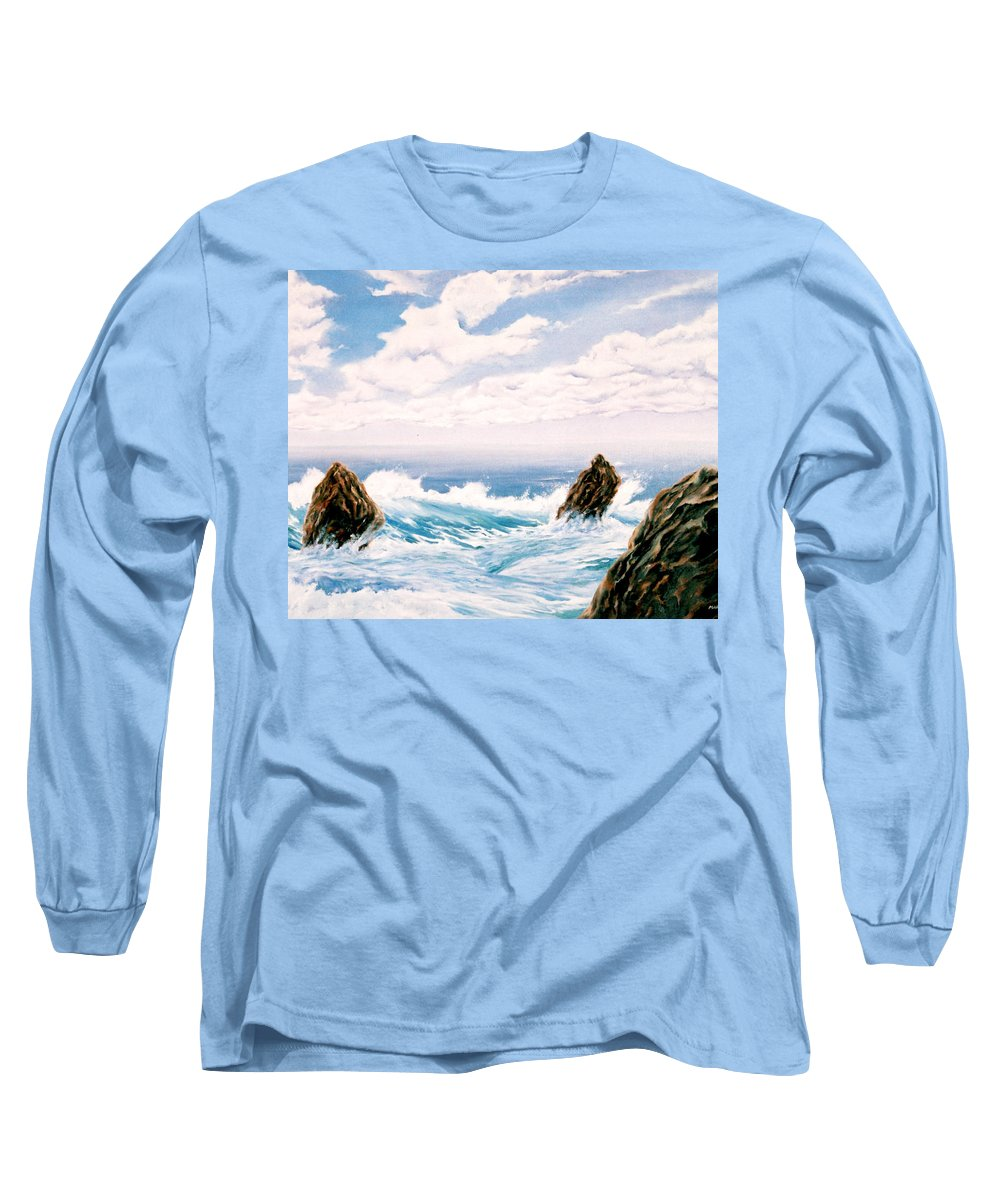 Seascape Long Sleeve T-Shirt featuring the painting Three Rocks by Mark Cawood