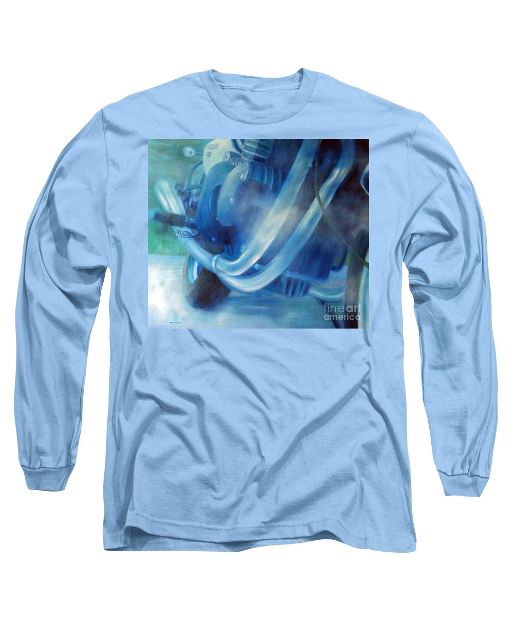 Motorcycles Long Sleeve T-Shirt featuring the painting Torque Triple - Triumph Thunderbird Sport by Brian Commerford