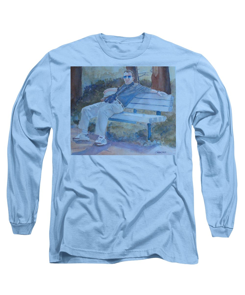 Tourists Long Sleeve T-Shirt featuring the painting Tourist At Rest by Jenny Armitage