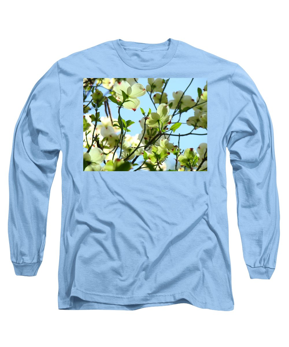 Dogwood Long Sleeve T-Shirt featuring the photograph Trees White Dogwood Flowers 9 Blue Sky Landscape Art Prints by Baslee Troutman