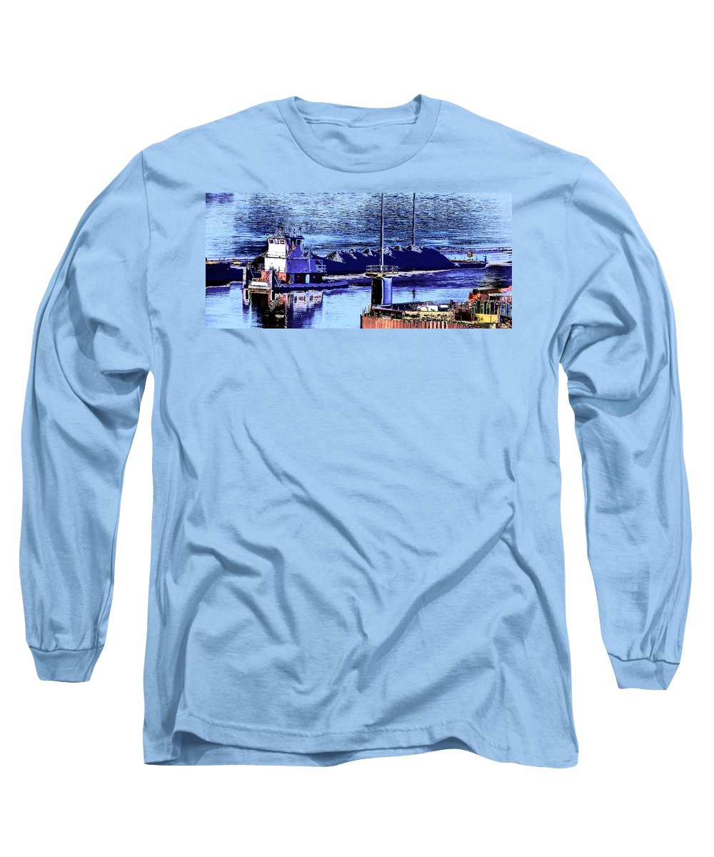 Abstract Long Sleeve T-Shirt featuring the photograph Tug Reflections by Rachel Christine Nowicki