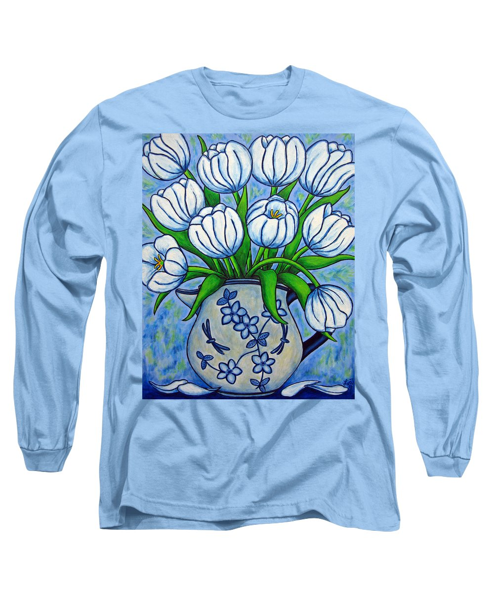 Flower Long Sleeve T-Shirt featuring the painting Tulip Tranquility by Lisa Lorenz