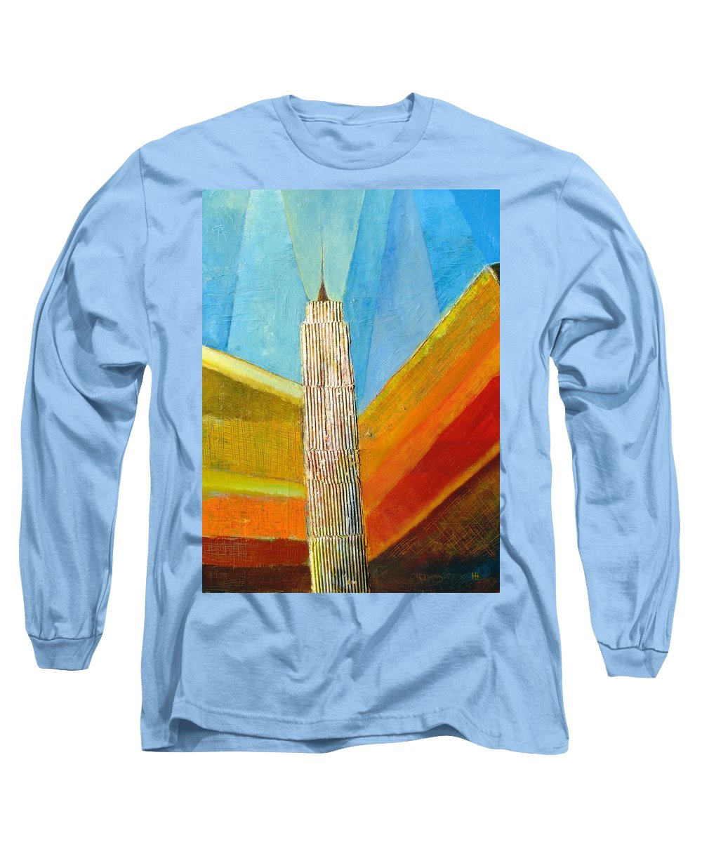 Abstract Cityscape Long Sleeve T-Shirt featuring the painting View From 34th St by Habib Ayat