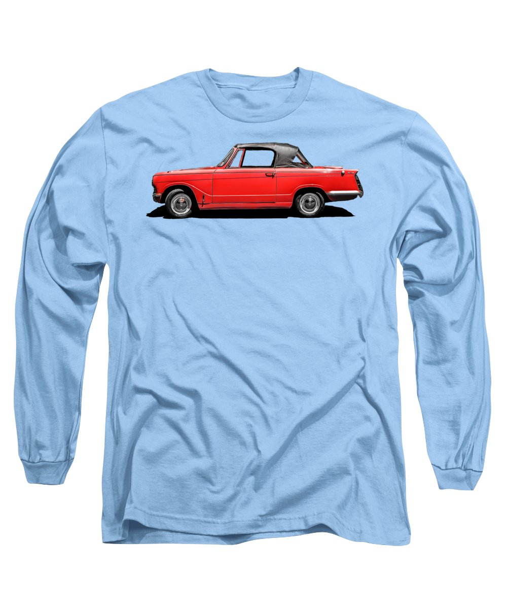 Classic Long Sleeve T-Shirt featuring the photograph Vintage Italian Automobile Red Tee by Edward Fielding