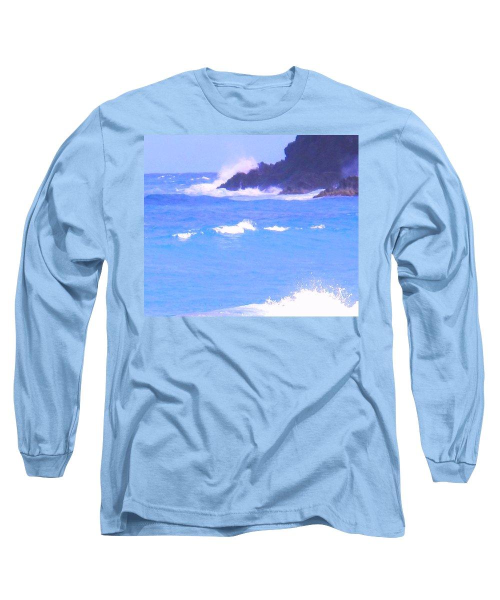 Ocean Long Sleeve T-Shirt featuring the photograph Waves Crashing by Ian MacDonald