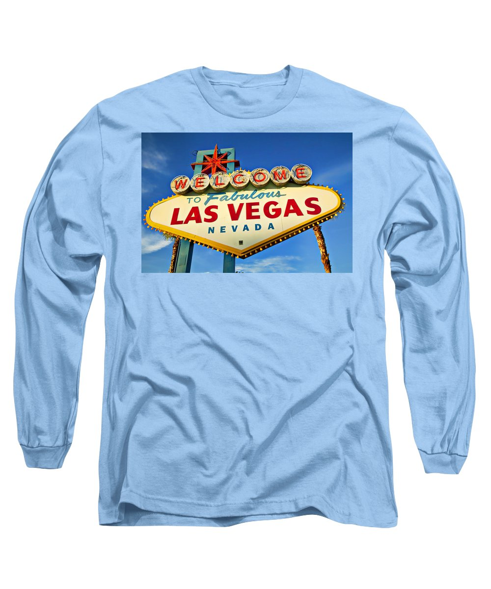 Welcome Las Vegas Sign Long Sleeve T-Shirt featuring the photograph Welcome To Las Vegas Sign by Garry Gay