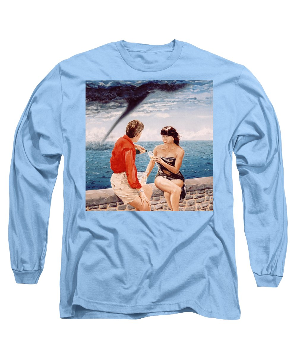 Whirlwind Long Sleeve T-Shirt featuring the painting Whirlwind Romance by Mark Cawood