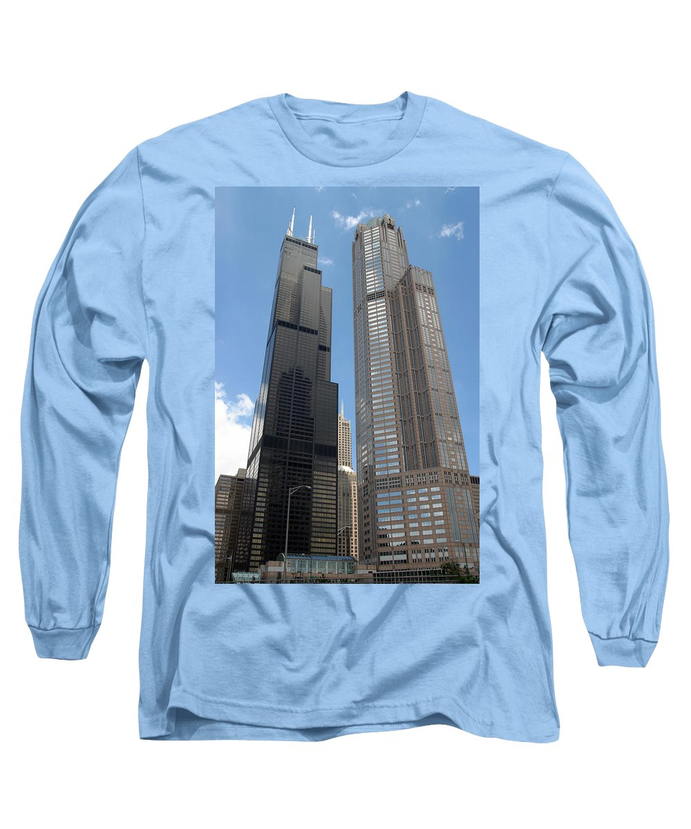 3scape Long Sleeve T-Shirt featuring the photograph Willis Tower Aka Sears Tower And 311 South Wacker Drive by Adam Romanowicz