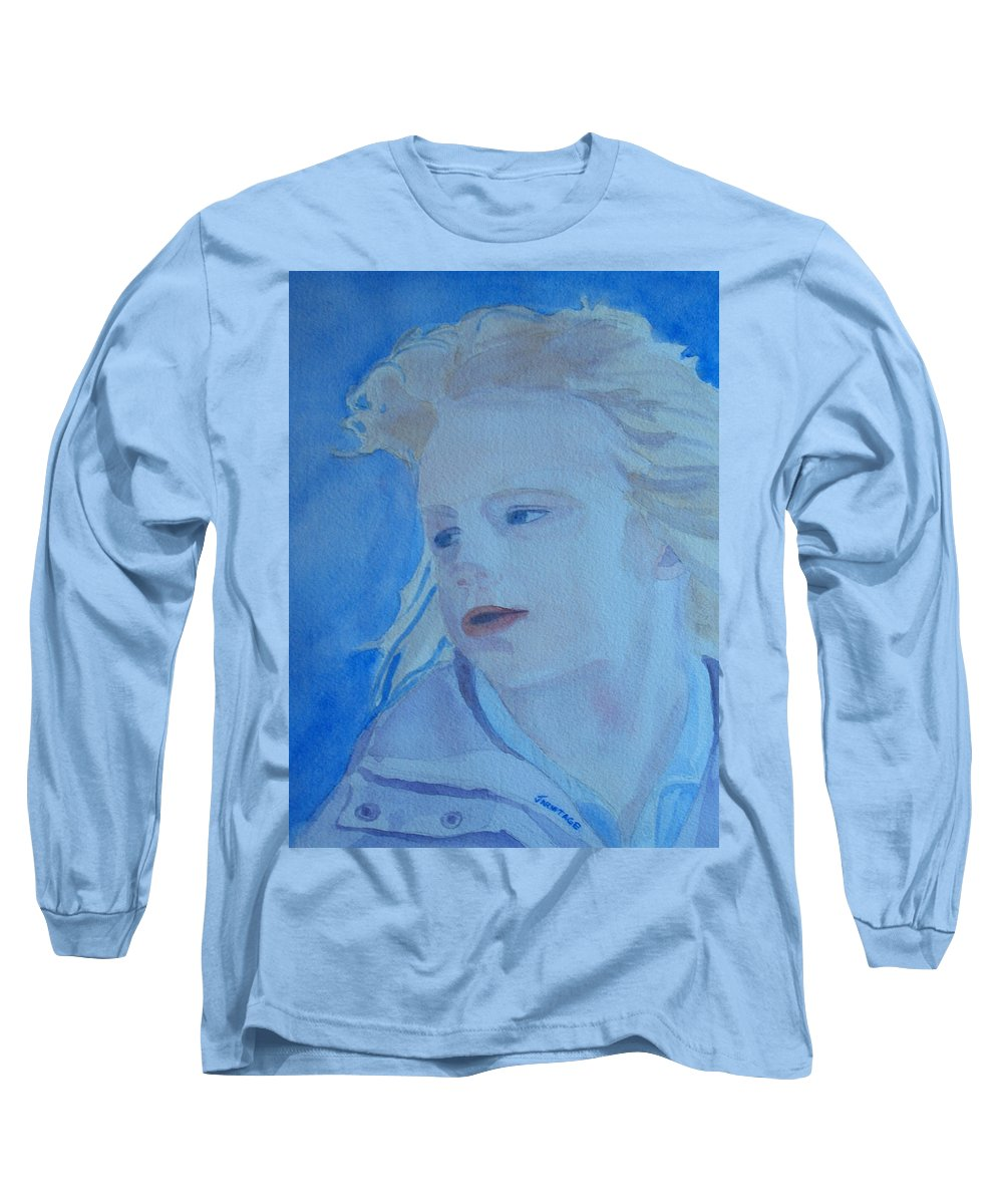 Portrait Portraits Long Sleeve T-Shirt featuring the painting Windswept by Jenny Armitage