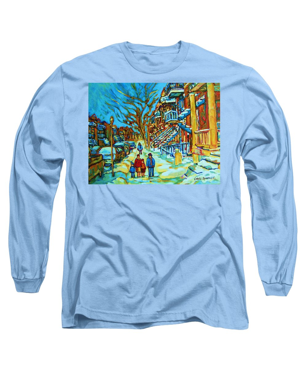 Winterscenes Long Sleeve T-Shirt featuring the painting Winter Walk In The City by Carole Spandau