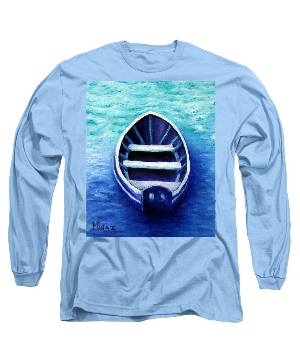 Boat Long Sleeve T-Shirt featuring the painting Zen Boat by Minaz Jantz