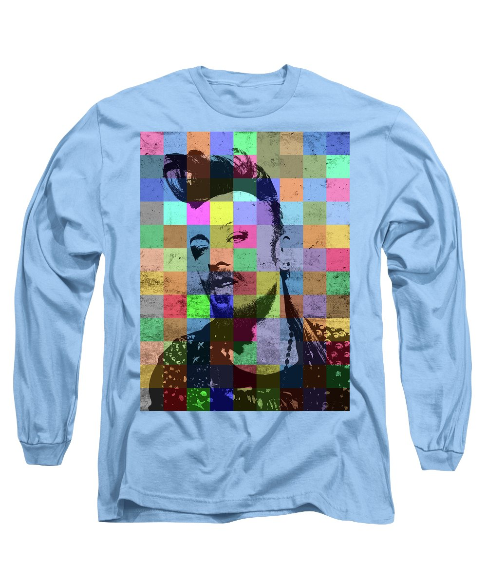 Boy George Long Sleeve T-Shirt featuring the mixed media Boy George Patchwork Portrait by Design Turnpike