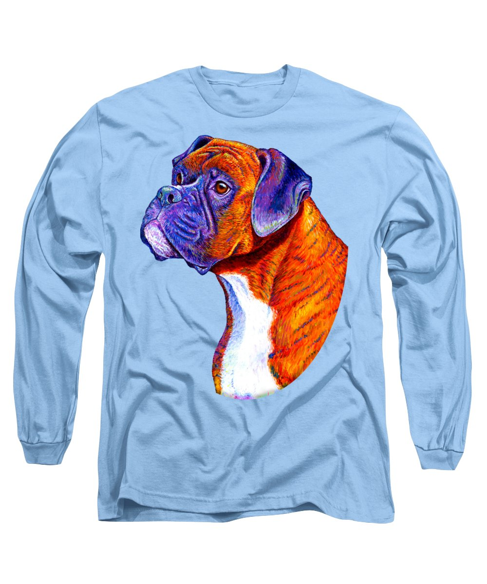 Boxer Long Sleeve T-Shirt featuring the painting Colorful Brindle Boxer Dog by Rebecca Wang