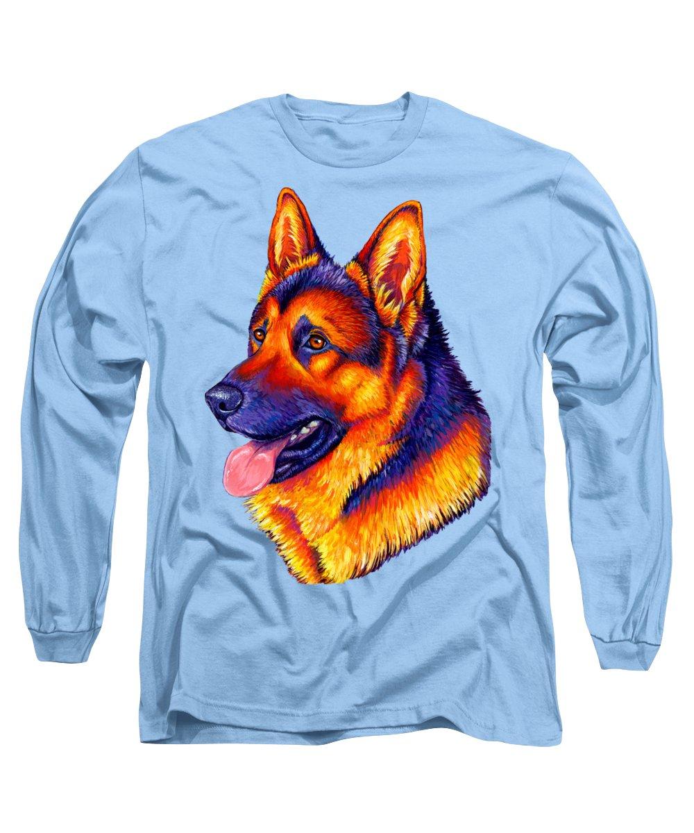 German Shepherd Dog Long Sleeve T-Shirt featuring the painting Colorful German Shepherd Dog by Rebecca Wang