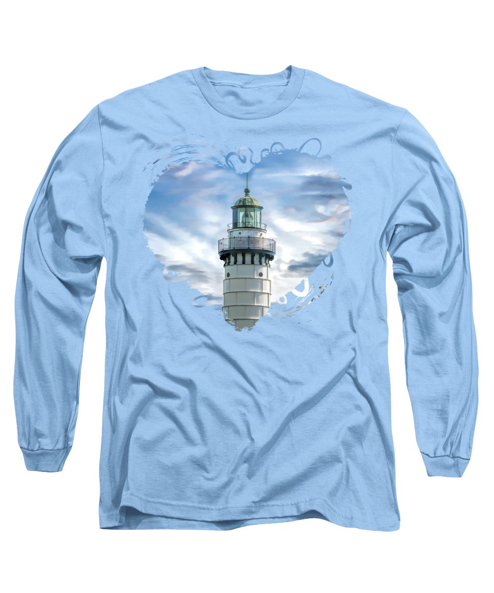 Cana Island Lighthouse Long Sleeve T-Shirt featuring the painting Door County Cana Island Beacon by Christopher Arndt