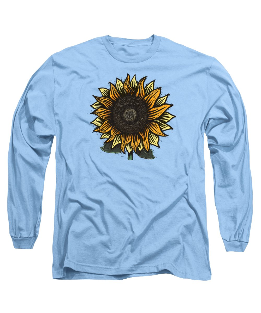 Sun Long Sleeve T-Shirt featuring the painting Here Comes The Sunflower Woodcut by Little Bunny Sunshine