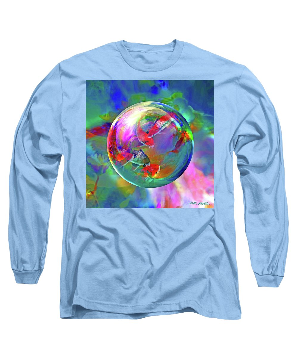 Koi Pond Long Sleeve T-Shirt featuring the digital art Koi Pond In The Round by Robin Moline