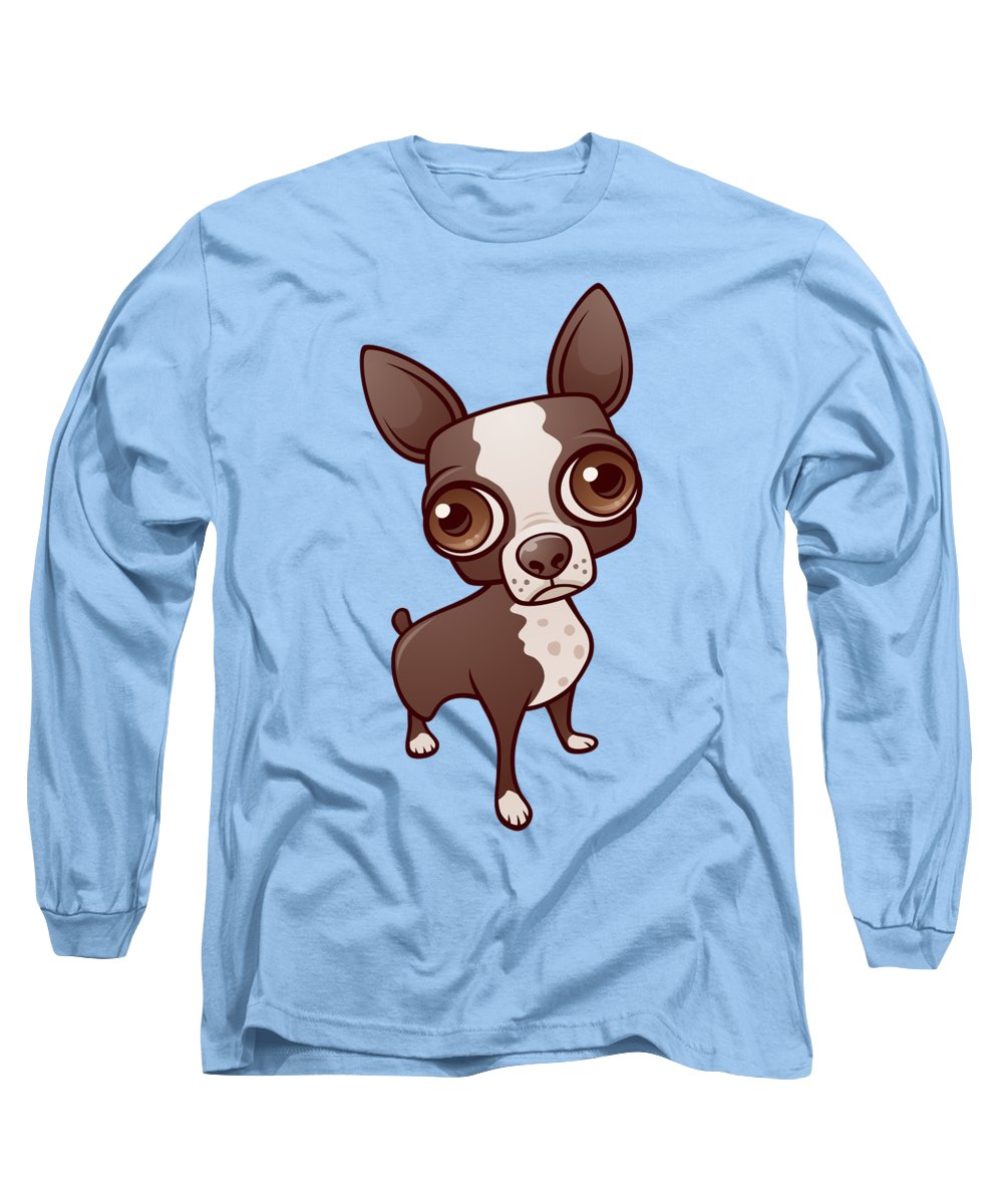 Boston Long Sleeve T-Shirt featuring the digital art Zippy the Boston Terrier by John Schwegel
