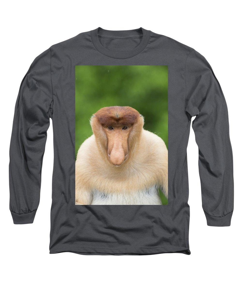 Suzi Eszterhas Long Sleeve T-Shirt featuring the photograph Proboscis Monkey Dominant Male Sabah by Suzi Eszterhas
