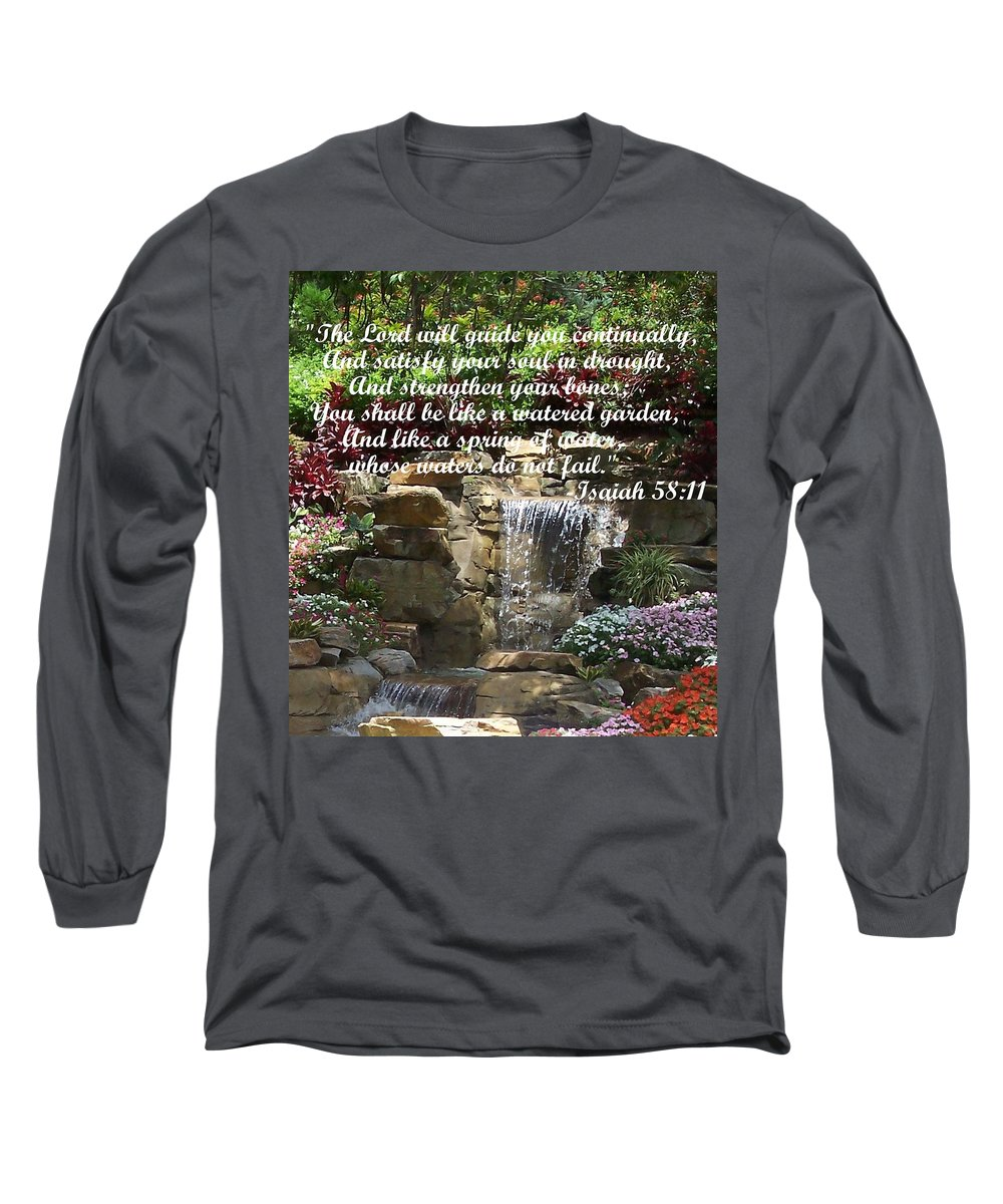 Inspirational Long Sleeve T-Shirt featuring the photograph Watered Garden by Pharris Art