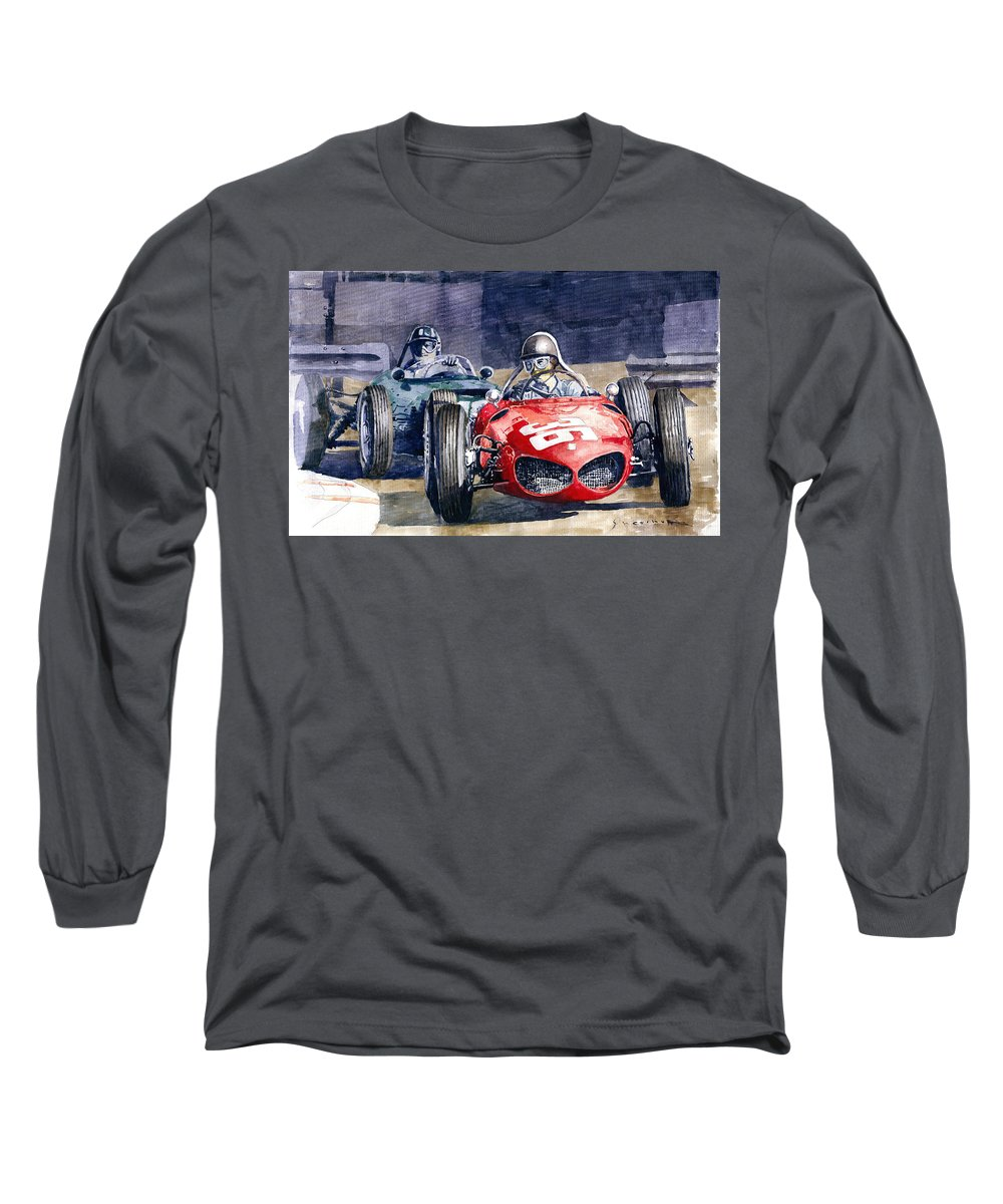 Watercolor Long Sleeve T-Shirt featuring the painting 1961 Monaco Gp #36 Ferrari 156 Ginther #18 Brm Climax P48 G Hill by Yuriy Shevchuk