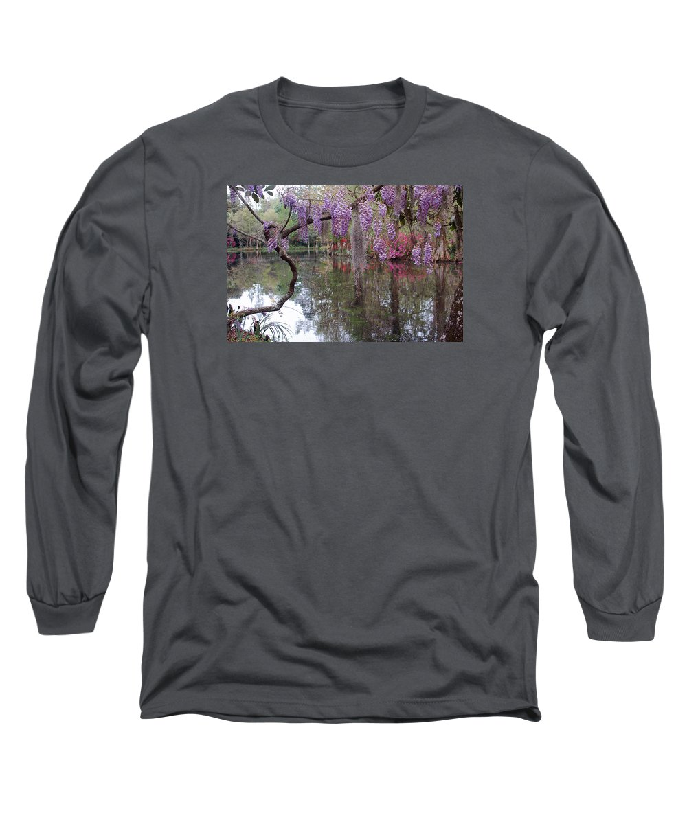 Wisteria Long Sleeve T-Shirt featuring the photograph Magnolia Plantation Gardens Series II by Suzanne Gaff