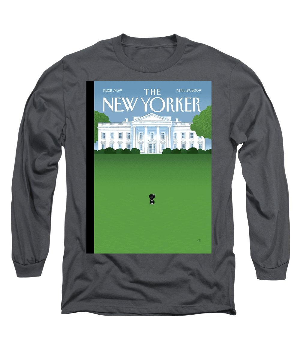 Obama Long Sleeve T-Shirt featuring the painting Bo by Bob Staake