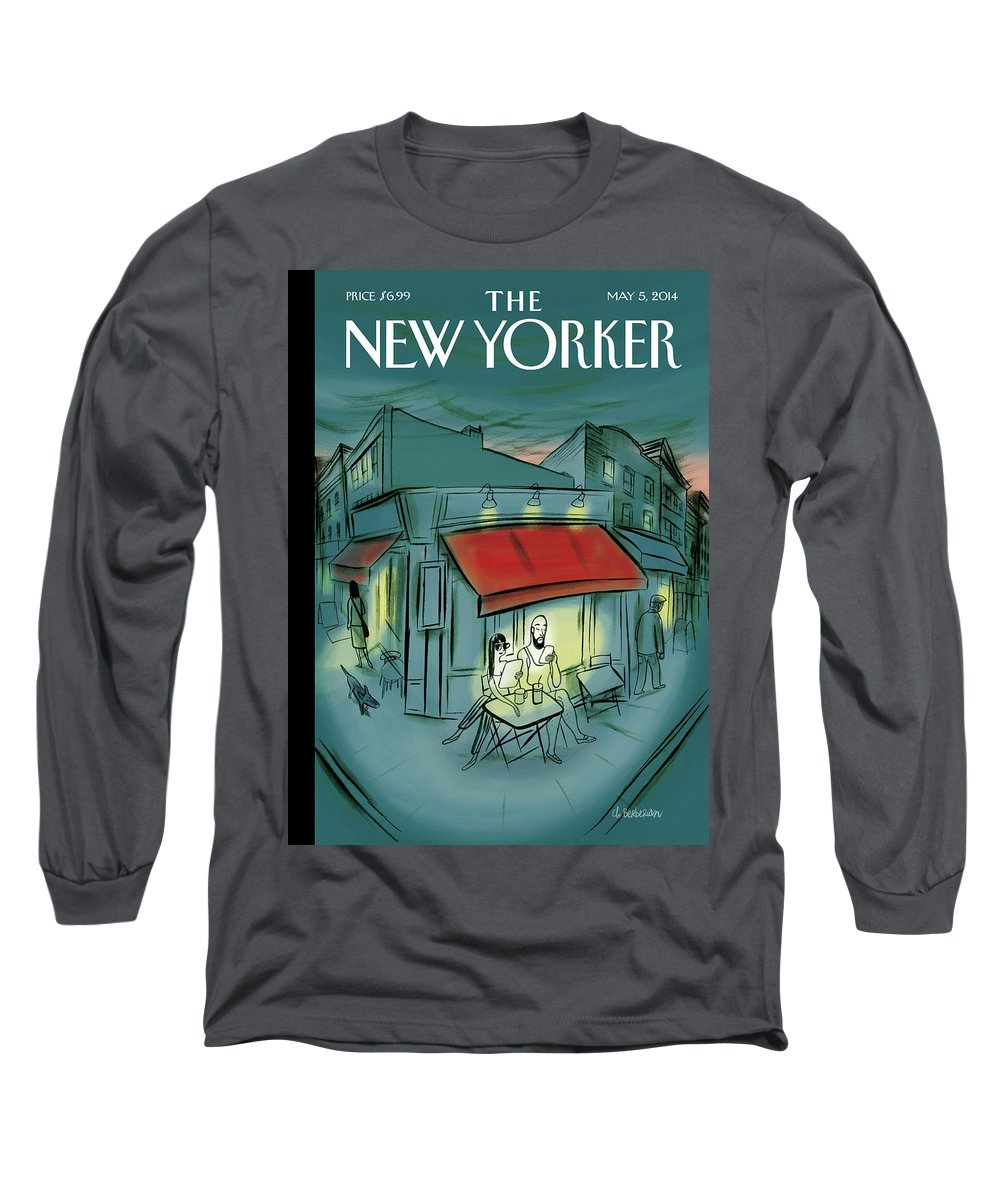 Digital Long Sleeve T-Shirt featuring the painting Out and About by Charles Berberian