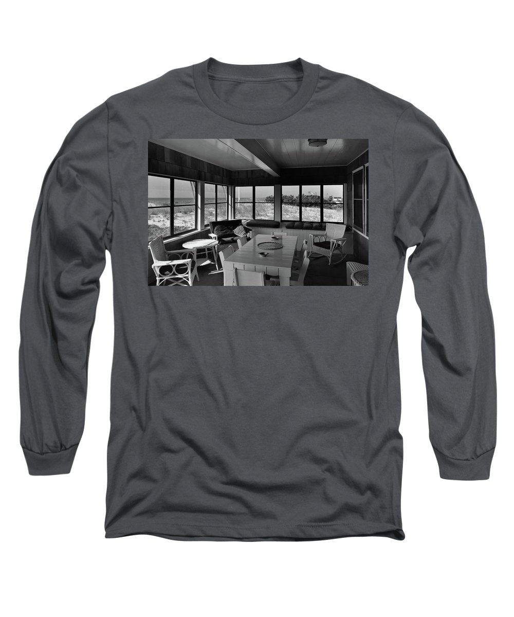 Home Long Sleeve T-Shirt featuring the photograph A Covered Porch With A View by Gottscho-Schleisner