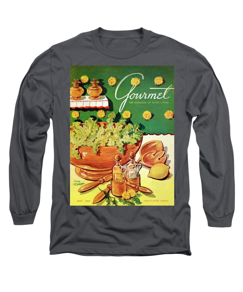 Food Long Sleeve T-Shirt featuring the photograph A Gourmet Cover Of Dandelion Salad by Henry Stahlhut