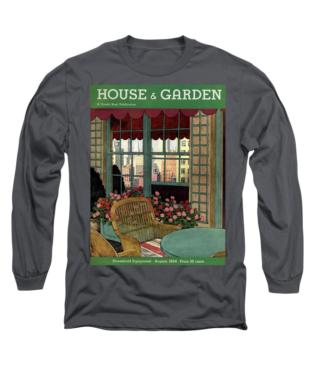 Illustration Long Sleeve T-Shirt featuring the photograph A House And Garden Cover Of A Wicker Chair by Pierre Brissaud