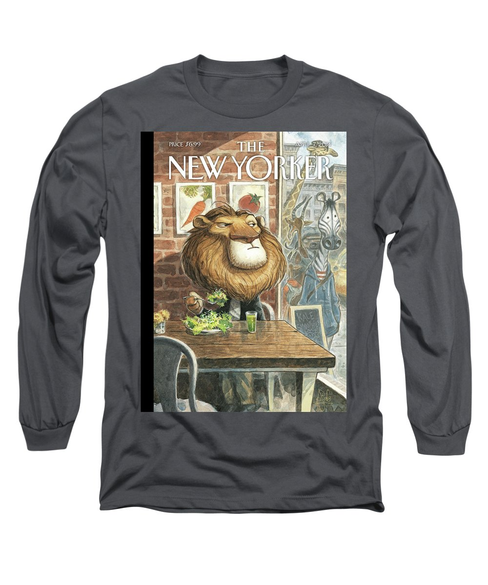 Restaurant Long Sleeve T-Shirt featuring the painting A New Leaf by Peter de Seve