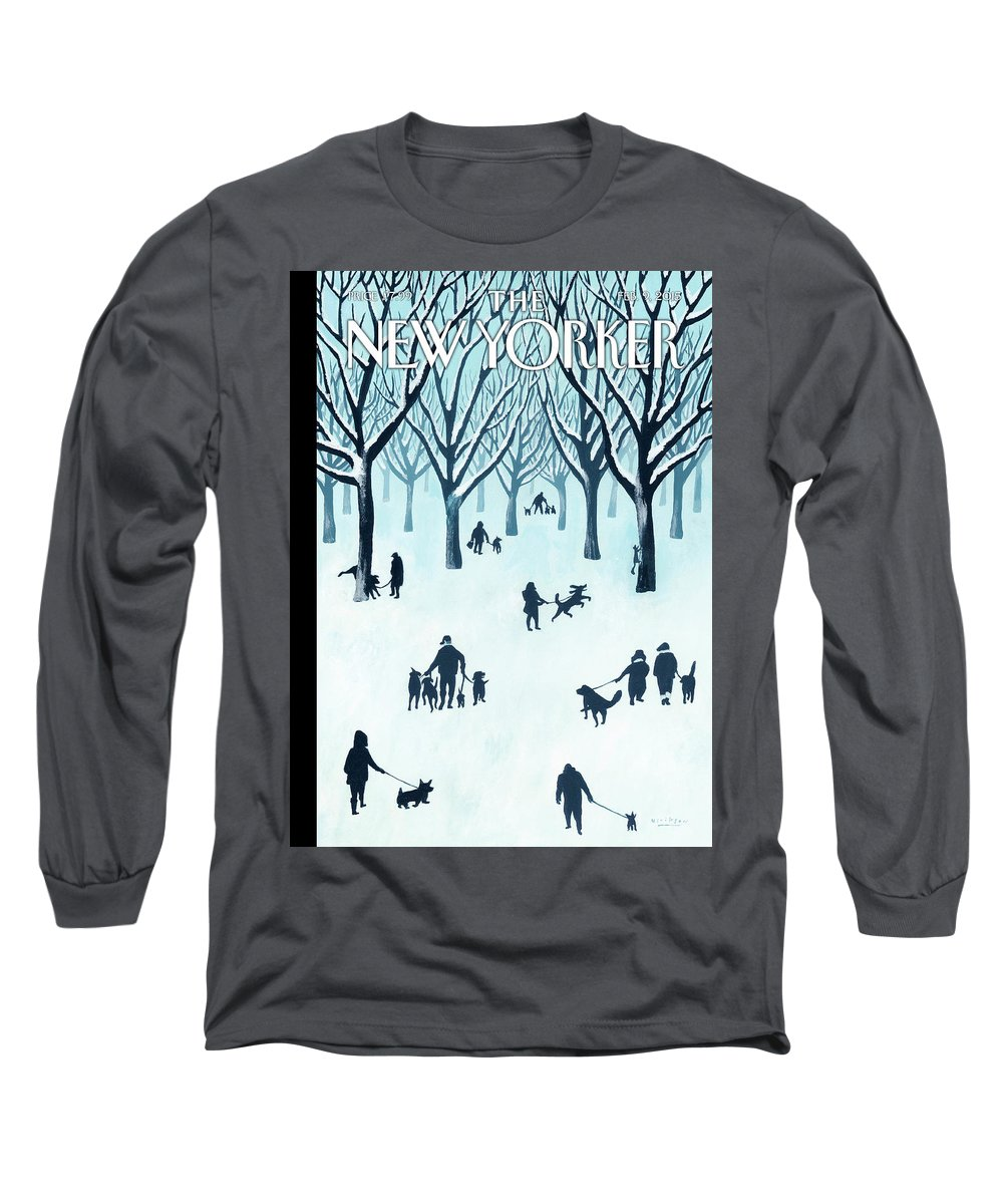 Snow Long Sleeve T-Shirt featuring the painting A Walk In The Snow by Mark Ulriksen
