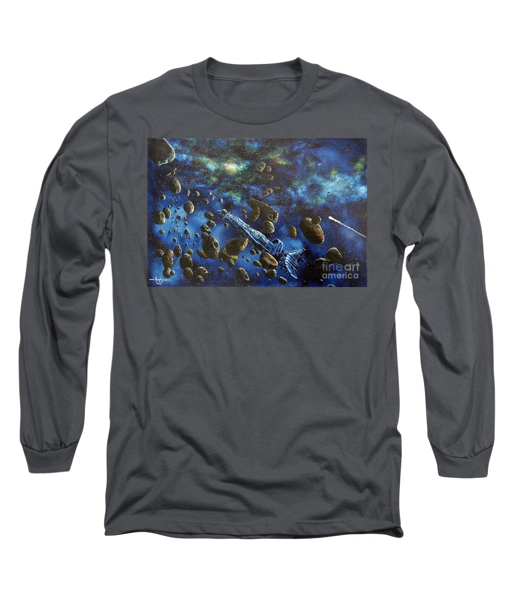 Canvas Long Sleeve T-Shirt featuring the painting Accidental Asteroid by Murphy Elliott