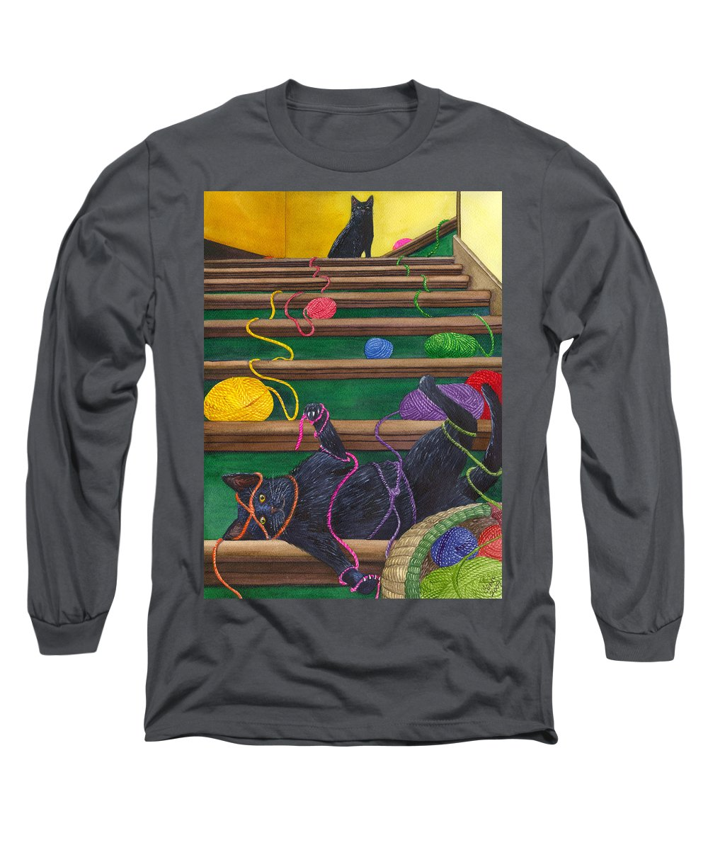 Cat Long Sleeve T-Shirt featuring the painting All Caught Up by Catherine G McElroy