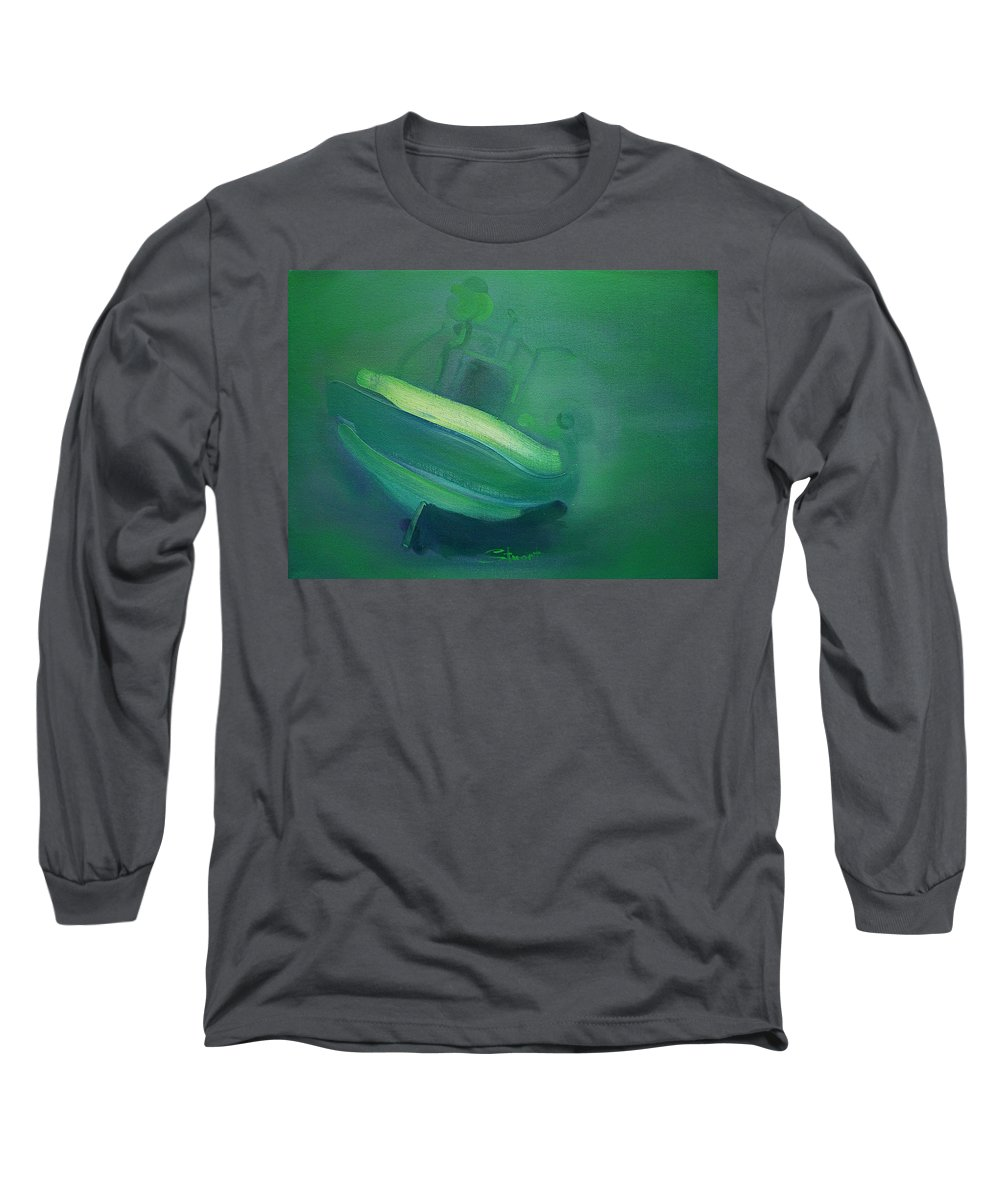 Fishing Boat Long Sleeve T-Shirt featuring the painting Alvor Working Boat by Charles Stuart