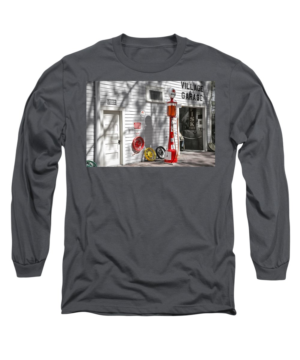 Garage Long Sleeve T-Shirt featuring the photograph An Old Village Gas Station by Mal Bray
