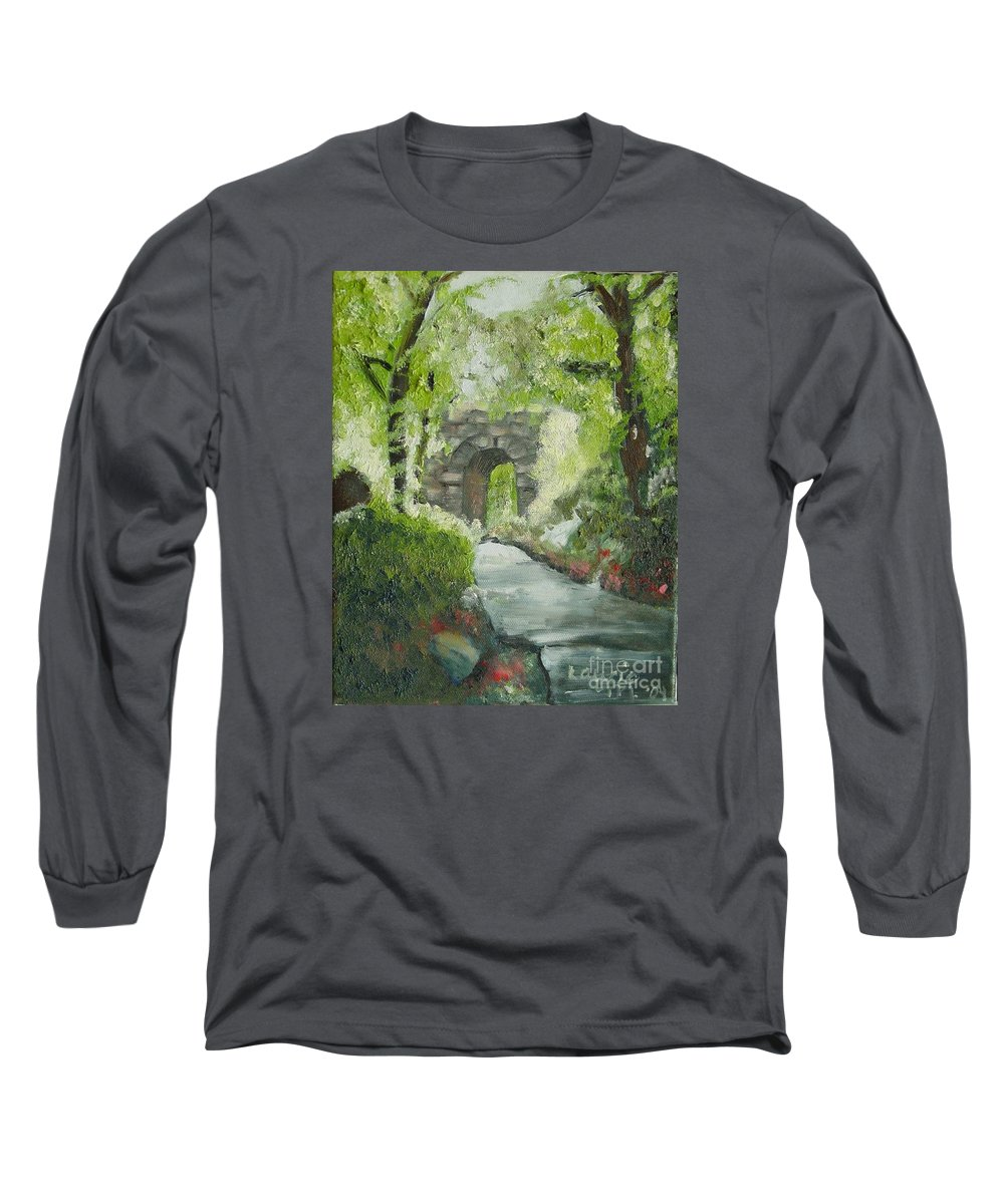 New York Long Sleeve T-Shirt featuring the painting Archway In Central Park by Laurie Morgan
