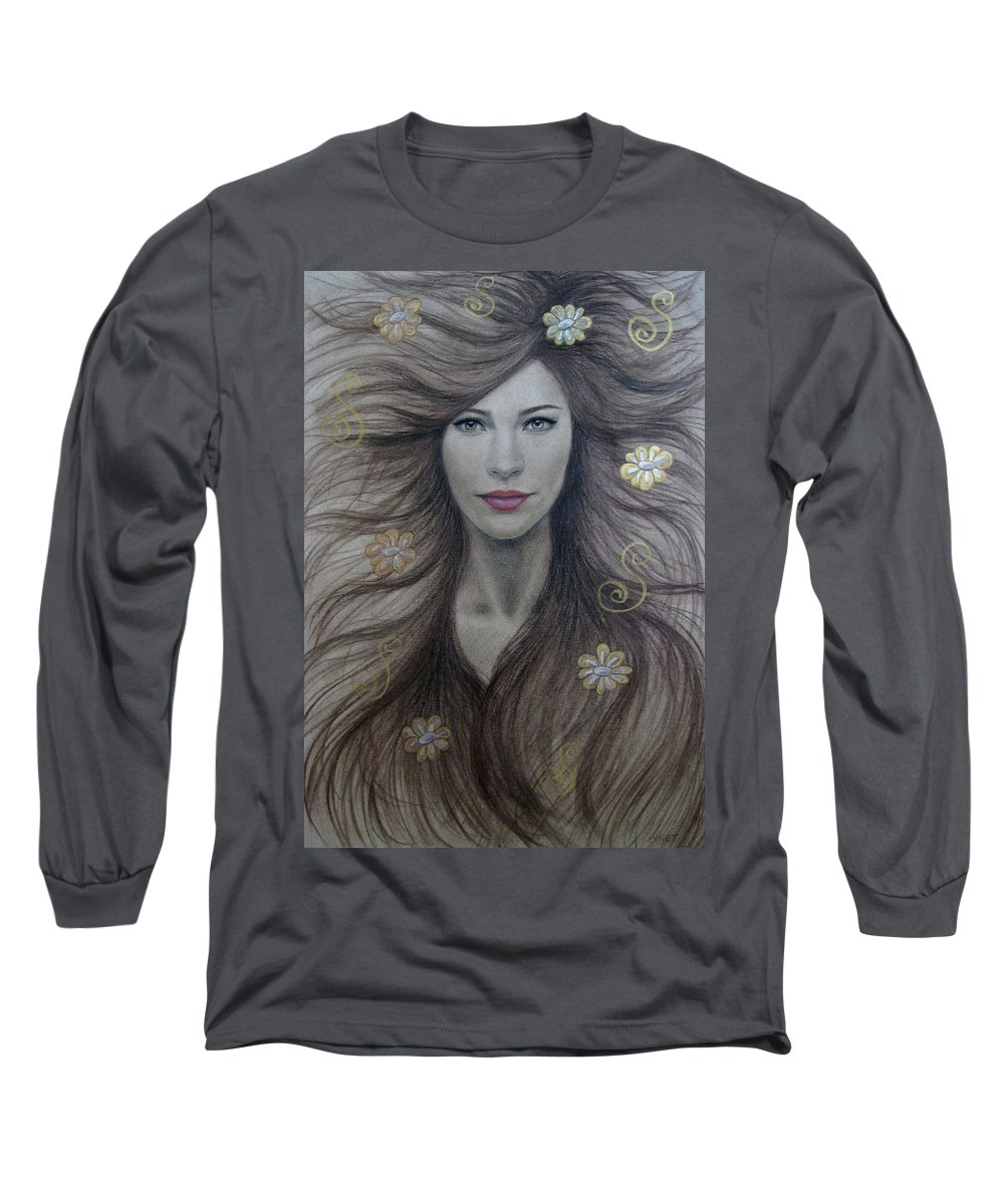 Artemis Long Sleeve T-Shirt featuring the painting Artemis by Lynet McDonald