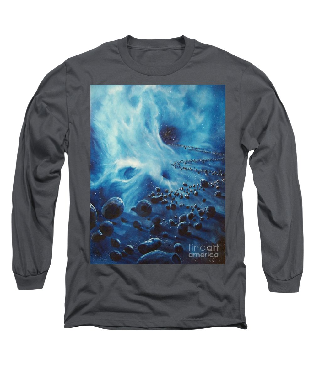 Si-fi Long Sleeve T-Shirt featuring the painting Asteroid River by Murphy Elliott