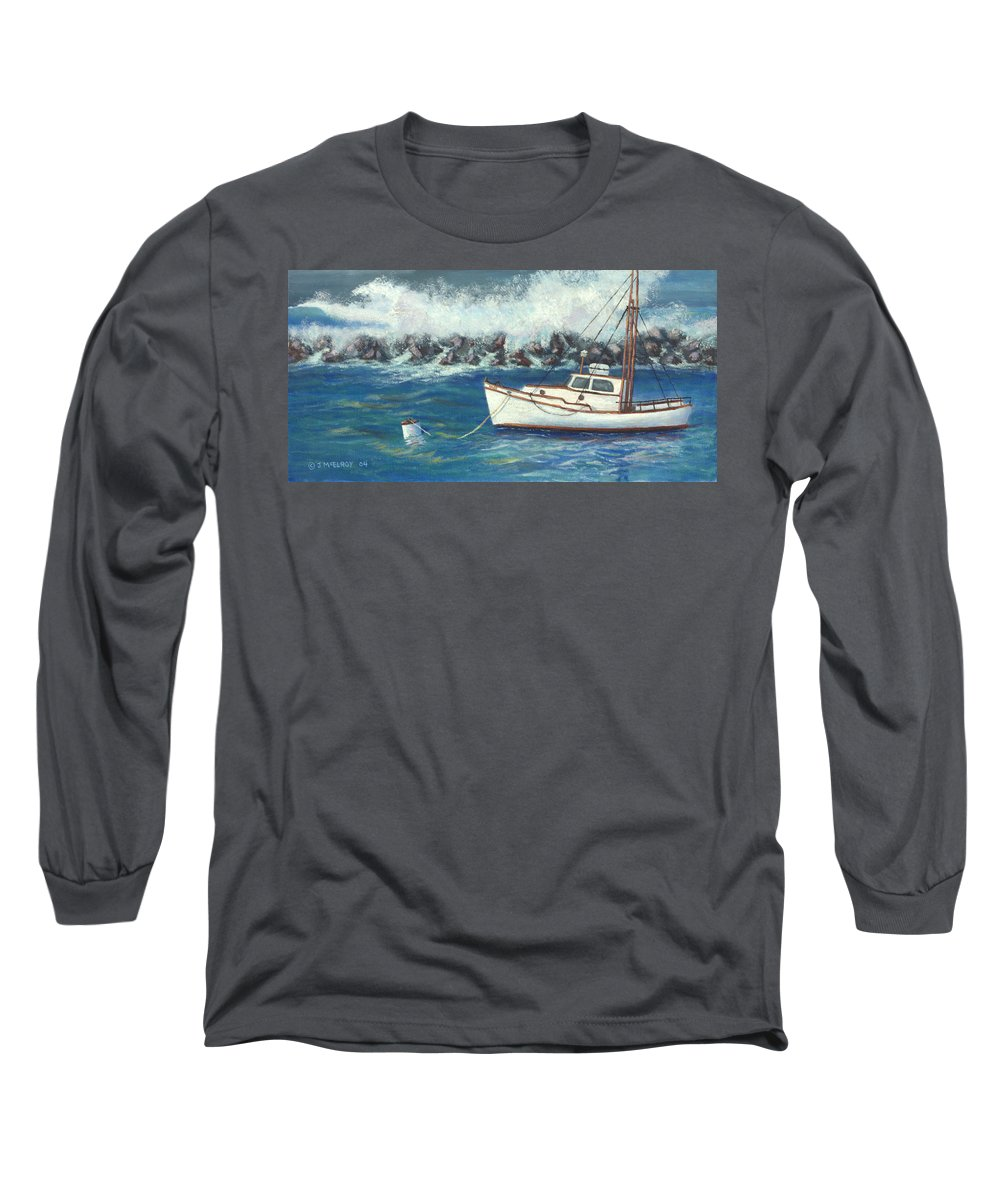 Ocean Long Sleeve T-Shirt featuring the painting Behind The Breakwall by Jerry McElroy