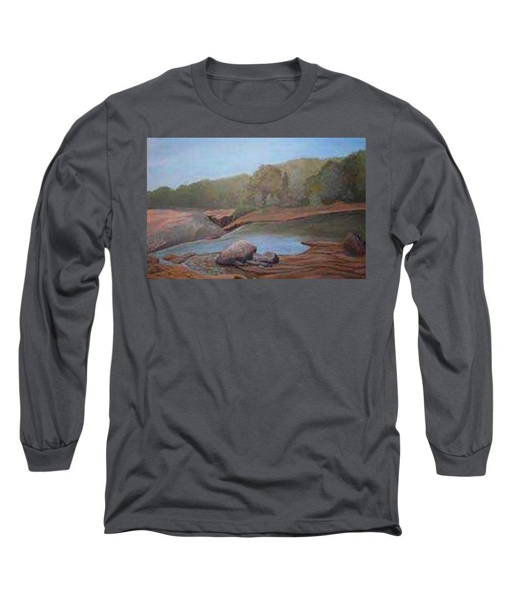 Rick Huotari Long Sleeve T-Shirt featuring the painting Black River Falls by Rick Huotari
