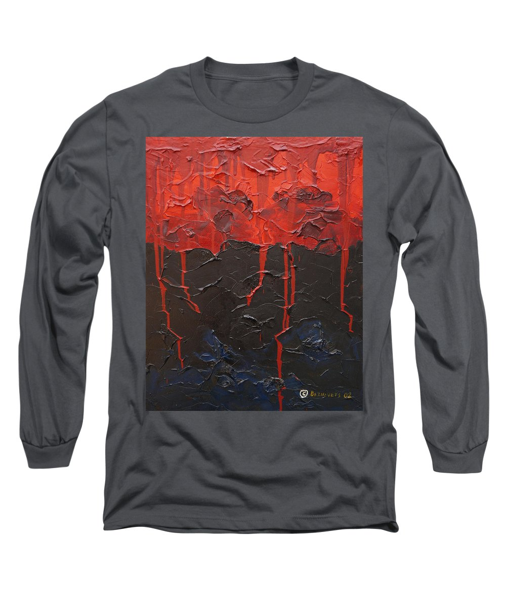 Fantasy Long Sleeve T-Shirt featuring the painting Bleeding Sky by Sergey Bezhinets